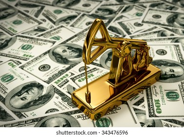 Golden Pumpjack On The Money. 3D Scene.