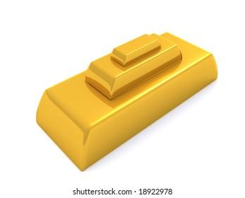 golden pyramid. 3d
