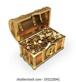 Golden quality treasure chest on white background.