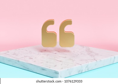 Golden Quote Left Icon on the Candy Background . 3D Illustration of Golden Left Quotes Mark, Quotation Mark, Quote Sign, Quotes Icons on Pink and Blue Color With White Marble.