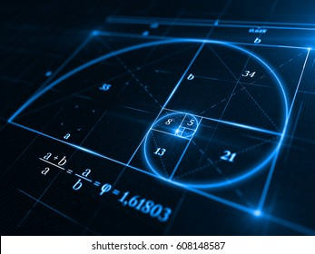 Golden ratio concept - 3d rendering