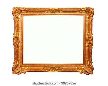 Golden rectangular frame isolated included clipping path