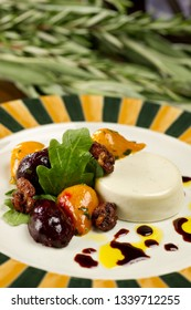 Golden and Red Beets with candied walnuts and goat cheese on salad