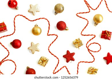 Golden and red Christmas decorations isolaten on white  top view