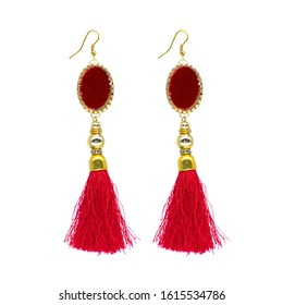Golden Red Isolated Earring Ethnic Indian Style. Bohemian Jewellery. Stylish Golden Oxidized Earrings. Multicolor Beads Earrings. Jhumka, Jhumki Earrings. Dangle Drop Stud Earring
