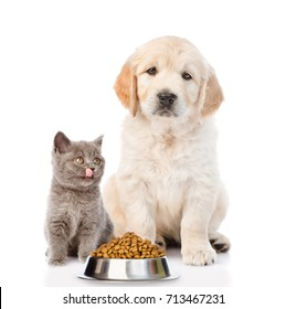 Golden retriever and licking kitty are sitting with dry food. isolated on white background