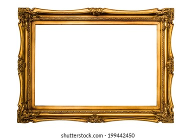 Golden retro picture frame, isolated on white (clipping paths included)