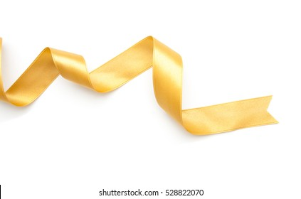 golden ribbon border isolated on white background
