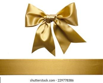 Goldener Schleifenbow einzeln auf weißem Hintergrund