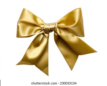 Golden Ribbon Bow isolated on White Background