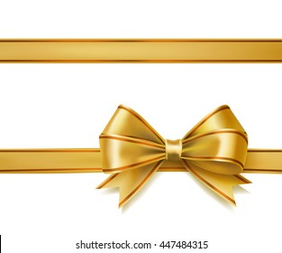golden ribbon bow on white. decorative design elements. raster