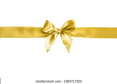 Golden ribbon with decorative bow on a white background. Festive background.