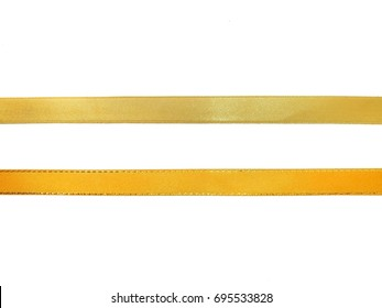 Golden ribbon isolated on white background.