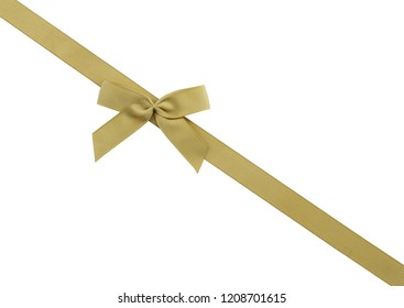 Golden ribbons with bow isolated on white background.