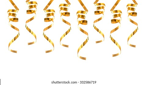 Golden ribbons isolated on white background