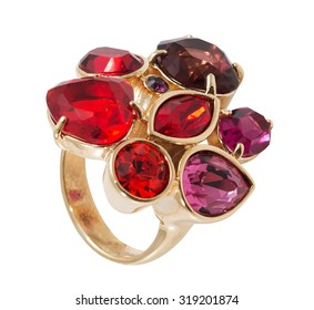 golden ring with red stones isolated on the white background