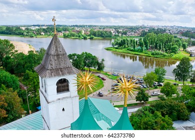 Golden ring of Russia in the summer, Yaroslavl. View from the bell tower Yaroslavl Architectural Historical and Art Museum Preserve of the Spassky (St Saviour) Monastery and the river Kotorosl.