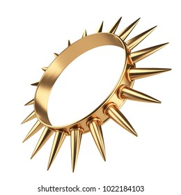 Golden ring with thorns. Very sharp spikes. 3d illustration isolated over white background.