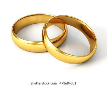 Golden Rings, 3D illustration