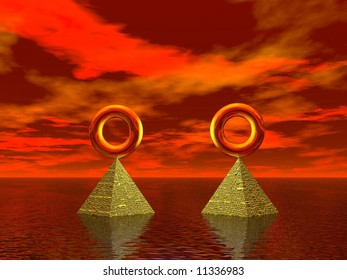 Golden rings in the sea aligned and balanced on pyramids