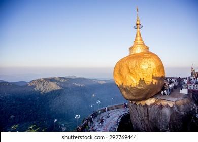 Golden Rock  Kyaikhtiyo, Myanmar 16-Nov-2014 Many Myanmar people come to pray Kyaikhtiyo pagoda or Goldern Rock one of most important Buddhist pilgrimage site in Burma.