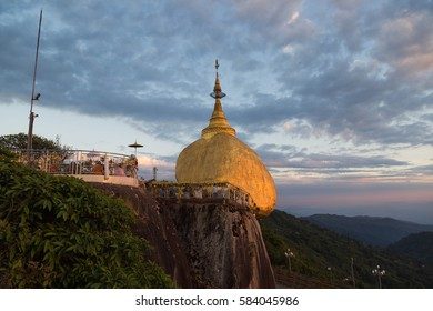 The golden rock is the major buddhist temple in Myanmar