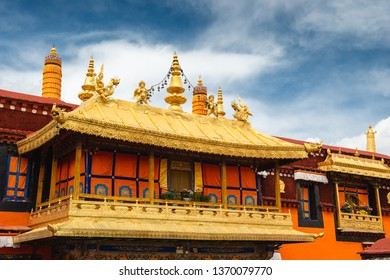 The golden rooftops of Jokhang Temple in Lhasa, Tibet. The temple is the holiest temple in all of Tibetan Buddhism, and virtually every Tibetan will make pilgrimage to the site once in their lives.