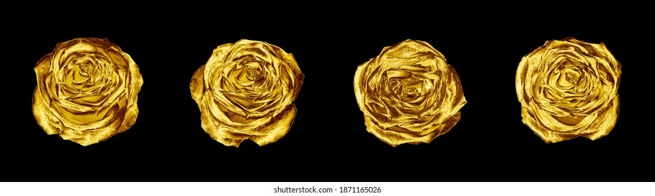 Golden rose flowers set black background isolated close up, four gold roses, shiny yellow metal flower heads, decorative design element, floral pattern, beautiful vintage decoration, retro style decor - Shutterstock ID 1871165026