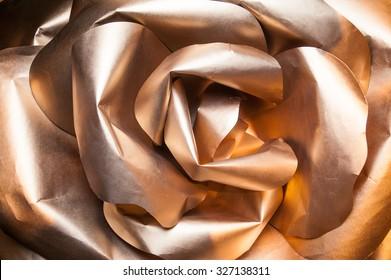 golden rose with paper petals, origami rose, gold rose petals large paper