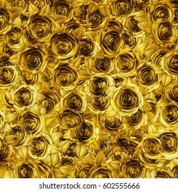 Golden roses background / 3D illustration of metallic gold roses