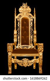 Golden royal chair isolated on black background. A place for the king. Throne. Royal chair.