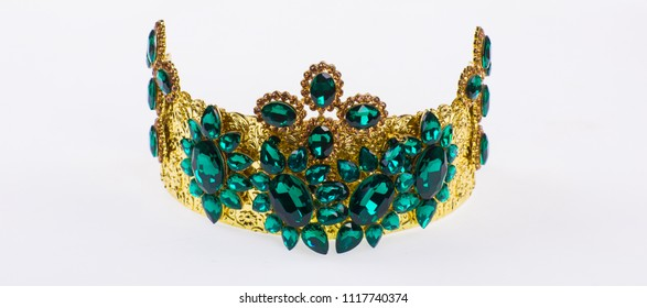 golden royal crown on white isolated background