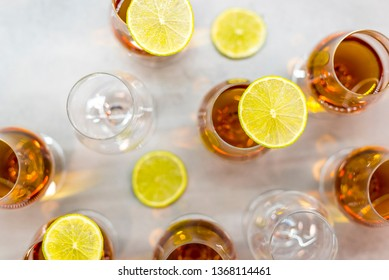 Golden rum with slice of lemon