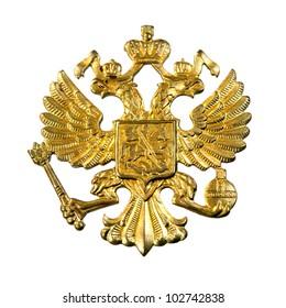 Golden russian emblem - double eagle