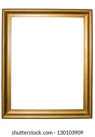 Golden rustic picture frame - isolated on white background