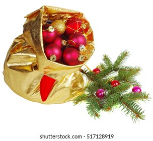 Golden sack with christmas balls. Isolated on white