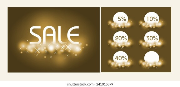 Golden sale background with tickets