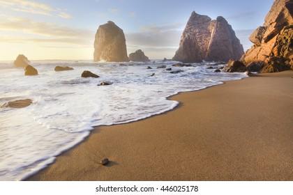 golden sand Ursa beach. Sintra , Portugal