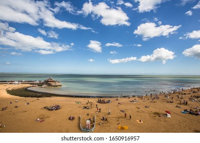Golden sand of Viking Bay Broadstairs, Thanet, Kent, UK and the historic Bleak House on a sunny summer day.Broadstairs Kent England.June 28 2018
