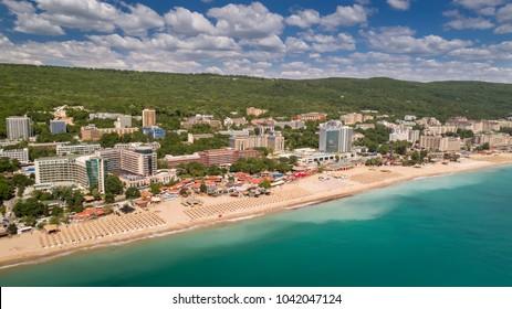 GOLDEN SANDS BEACH, VARNA, BULGARIA - MAY 19, 2017. Aerial view of the beach and hotels in Golden Sands, Zlatni Piasaci. Popular summer resort near Varna, Bulgaria