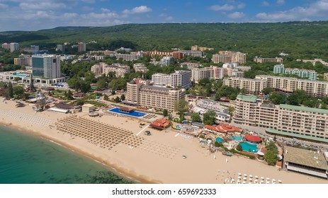 GOLDEN SANDS BEACH, VARNA, BULGARIA - MAY 15, 2017. Aerial view of the beach and hotels in Golden Sands, Zlatni Piasaci. Popular summer resort near Varna, Bulgaria