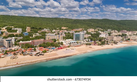 GOLDEN SANDS BEACH, VARNA, BULGARIA - MAY 19, 2017. Aerial view of the beach and hotels in Golden Sands, Zlatni Piasaci. Popular summer resort near Varna, Bulgaria