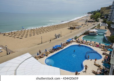 GOLDEN SANDS BEACH, VARNA - MAY 22, 2016. Golden Sands Beach ,summer attraction and resort at the Black Sea in Varna, Bulgaria. View from Glarus Hotel.