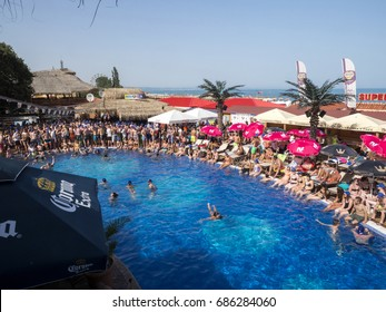 GOLDEN SANDS, BULGARIA -JULY 1:, 2017 Beach party in summer on July 1, 2017 in Golden Sands, Bulgaria.