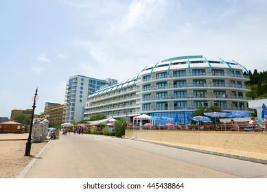 GOLDEN SANDS, VARNA ,BULGARIA - June 16, 2016. Beautiful seafront of the popular summer resort - Golden Sands Beach.
