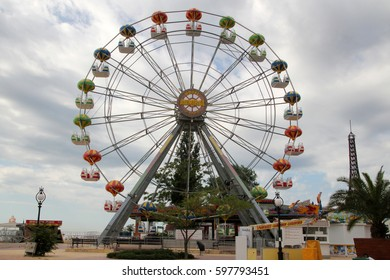 GOLDEN SANDS,BULGARIA - MAY29,2016:Ferris wheel at Golden Sands resort. Golden Sands is a top summer destination on the coast of Black Sea located near the city of Varna.