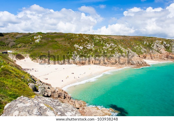 The golden sandy beach at Porthcurno Cornwall England UK