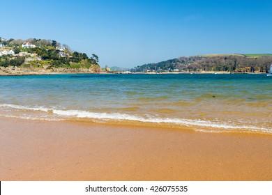 Golden sandy beach at South Sands Salcombe South Hams Devon England UK Europe