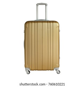 Golden sandy suitcase isolated on white background. Polycarbonate suitcase isolated on white. Golden sandy suitcase.