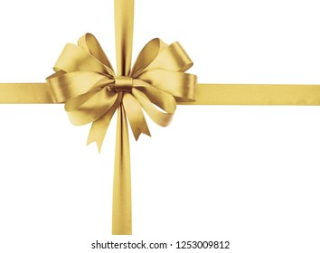 Golden sateen ribbon with bow as a gift symbol on white background.